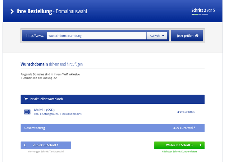 Alfahosting Domainauswahl